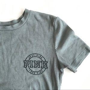 PINK VICTORIA SECRET Green short sleeve logo tee